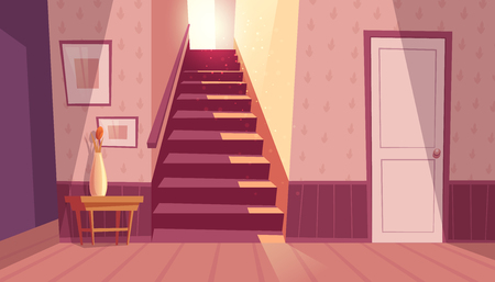 Vector interior with staircase and white door in house. Home inside with light from window and shadows on steps. Front view of stairs with handrail, table with vase in maroon colors.