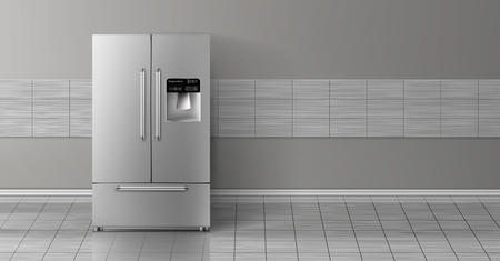 Vector 3d realistic mock up with gray two-chambered refrigerator isolated on tile wall. Modern smart appliance in kitchen, background for design. Decorative template with fridge. Illustration