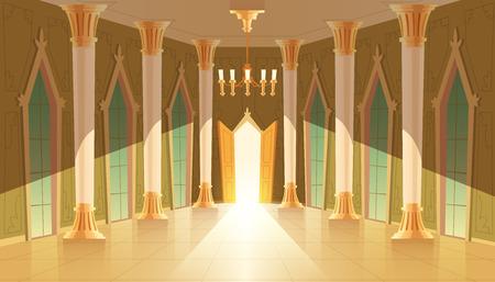 Vektorschlosshalle, Innenraum des Ballsaals zum Tanzen, Präsentieren oder königlichen Empfang. Großer Raum mit Kronleuchter, geschlossene Fenster. Offene Tür, Licht beleuchtet Säulen, Säulen im luxuriösen mittelalterlichen Palast Vektorgrafik