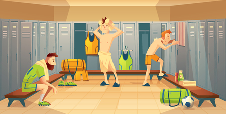 Vector changing room with football players, athletes. Sportsmen after training, lockers with uniform, costumes for team. Cartoon background with school gym. Vectores