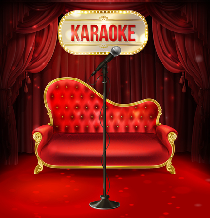Vector karaoke concept. Red velvet sofa with gilded legs and black microphone for poster, banner of musical evening, event. Illuminated signboard and red curtains as background. Stok Fotoğraf