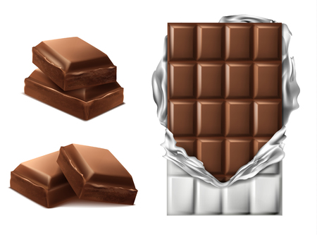 Vector 3d realistic chocolate pieces. Brown delicious bar in torn foil packaging and chocolate slices, mock up, package template, design element. Cocoa tasty product, yummy dark and milk dessert. Banque d'images - 103623827