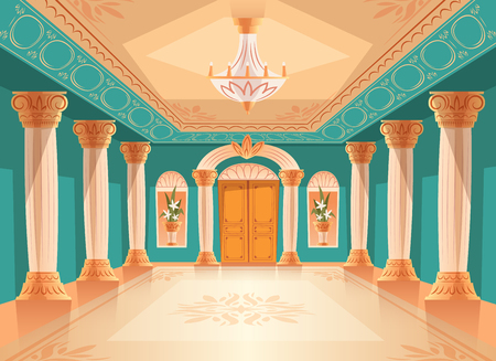Ballroom or palace reception hall vector illustration of luxury museum or chamber room. Cartoon royal blue interior background with chandelier, vases and decoration on ceiling, walls and columns Banque d'images - 103903226