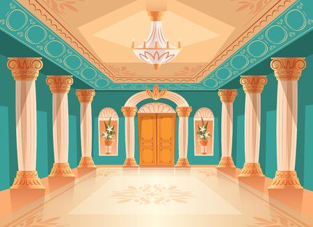 Sala balowa lub sala przyjęć pałacu ilustracji wektorowych luksusowego muzeum lub sali kameralnej. Kreskówka królewskie niebieskie tło wnętrza z żyrandolem, wazonami i dekoracją na suficie, ścianach i kolumnach
