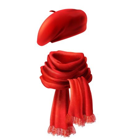 Vector 3d realistic silk red scarf and headwear - french hat, beret. Knitted fabric cloth, alpaca wool for winter. Scarlet velvet textile, cashmere unisex knitwear isolated on white background Illustration