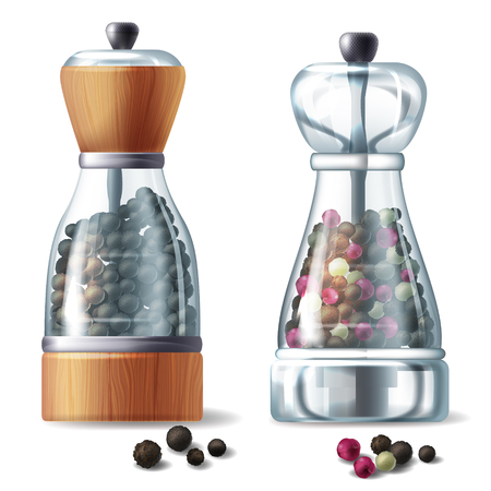 Vector realistic set of two pepper mills, glass containers filled with various peppercorns, isolated on white background. Kitchen equipment for grind and prepare spicy seasoning for eating and cooking