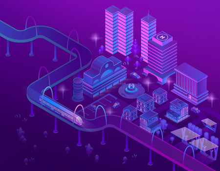 Vector 3d isometric train on road in megapolis with skyscrapers. City parking for cars in violet colors. Buildings with place for helicopter, bridge with ultraviolet lighting. Park in town. Illustration
