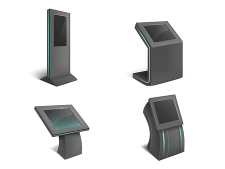 Vector realistic set of interactive information kiosks, black stands with blank touch screen isolated on background. Public service terminals for advertising, digital payments, to get help and info