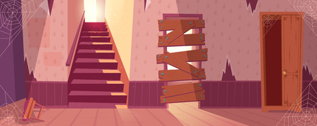 Vector illustration of abandoned house with torn wallpapers. Desolate building with staircase, wooden broken closet. Home inside with spider web, dust. Front view of stairs with in maroon colors.