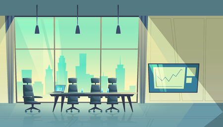 Vector cartoon illustration of modern conference hall, room for meetings and business trainings, interior with furniture. Boardroom with table, chairs, projector on wall, big window with city view