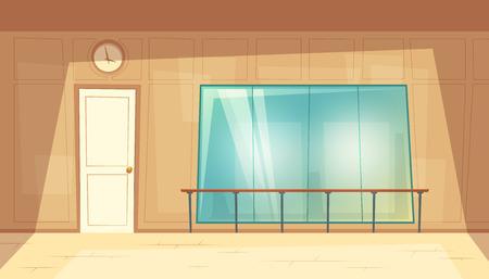 Illustrazione del fumetto di vettore della sala da ballo vuota con specchi e pavimento in legno. Sala prove per lezioni di danza classica con corrimano a muro. Palestra, lezione per corsi di fitness o yoga, interni vuoti all'interno Vettoriali