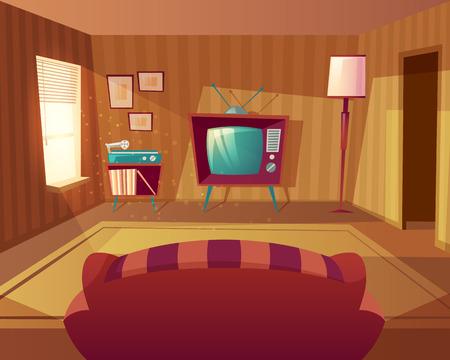 Illustration vectorielle de salon de dessin animé. Vue de face du canapé au téléviseur, lecteur de vinyle. Lumière de la fenêtre sur les meubles, tapis. Fond intérieur domestique Vecteurs