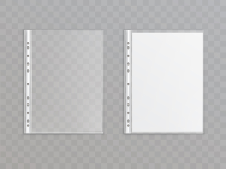 Vector 3d realistic translucent punched pocket isolated on transparent background. Office stationery for copies, portfolio - plastic wallet. Sheet protector for a4 paper. Template, mock up