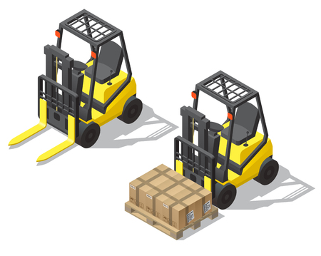 Vector 3d isometric forklift set isolated on white background. Empty yellow loader and machine with pallet, cardboard boxes for storage, warehouse. Shipping, logistic concept in isometry