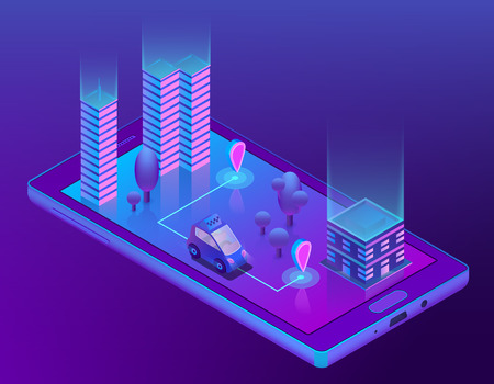 Vector 3d isometric concept with smart taxi for smartphone, app for device. Wireless navigation for driving car, travel in city, urban. Smartcar with radar in ultra violet colors Иллюстрация