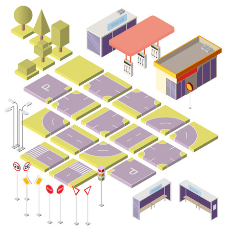 Vector set with isometric elements to build your own city map. Cityscape constructor isolated on background. Urban objects, road sections with markings, stations, green trees, signs and traffic lights