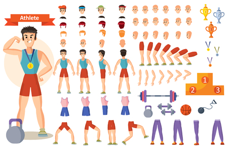 Man athlete in gym vector cartoon character constructor body parts and exercise poses icons. Construction set for create bodybuilder or weightlifter and training positions with barbells and dumbbells
