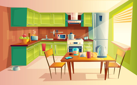 Vector cartoon illustration of cozy modern kitchen with appliances, fridge, stove, toaster, microwave, kettle. Comfortable and clean dining-room, interior inside, concept with furniture and tableware 免版税图像 - 104039482