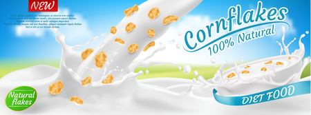 Vector 3d realistic cornflakes in milk, package design. Diet healthy food, nutrition in white bowl with splashing drops. Mock up of farm product, morning breakfast for advertising poster, promo banner