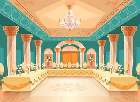 Wektor sala na bankiet, wesele. Wnętrze sali balowej ze stołami, krzesłami do biesiad, uroczystości lub królewskiego przyjęcia. Duży pokój z żyrandolem, kolumnami, filarami w luksusowym średniowiecznym pałacu
