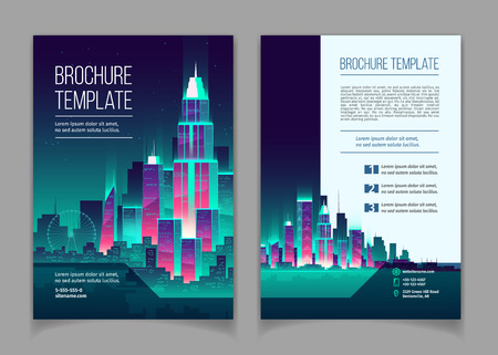 Vector brochure with modern megapolis at night. Booklet with glowing buildings in cartoon style, neon colors. Urban skyscrapers for town exterior, architecture. Residential construction, cityscape Illustration
