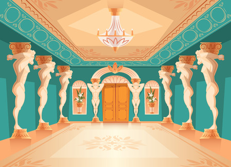 Salón de baile de vector con pilares de atlas. Interior de salón de baile con titán, columnas atlant para baile, presentación o recepción real. Gran habitación con candelabro en lujoso palacio medieval.