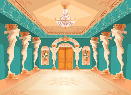 Sala da ballo di vettore con pilastri dell'Atlante. Interno della sala da ballo con titan, colonne atlant per ballare, presentazioni o ricevimento reale. Grande sala con lampadario in palazzo medievale di lusso.