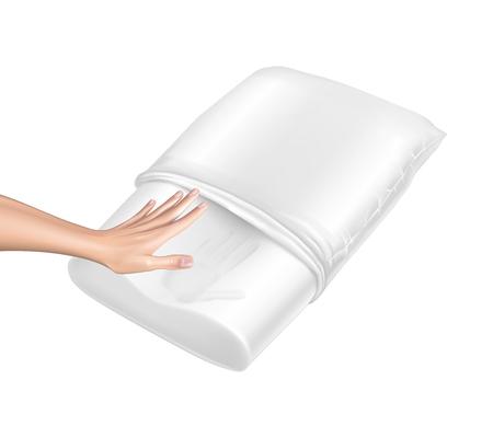 Vector 3d realistyczna poduszka ortopedyczna z naturalnego lateksu z efektem pamięci. Dłoń dotyka białej przytulnej poduszki i zostawia ślad. Wygodna pościel z efektem ortopedycznym, terapeutycznym