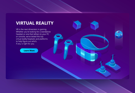 VR, augmented reality vector isometric concept background. Gadgets for cyberspace and gaming, headset and glasses, manipulators. Futuristic web banner for site with button and space for text Illustration