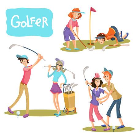 Satz Illustrationen von Golfspielen. Ein Mann und ein Mädchen auf einem Spielfeld mit Stöcken für einen Golfspieler in einem Karikaturstil lokalisiert auf weißem Hintergrund.