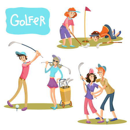 Set of illustrations of golf games. A guy and a girl on a playing field with sticks for a golf player in a cartoon style isolated on white background.