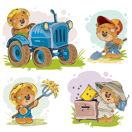 Set of clip art illustrations of a teddy bear on a tractor, beekeeper, farmer, isolated on white. Prints, design elements Stock Photo