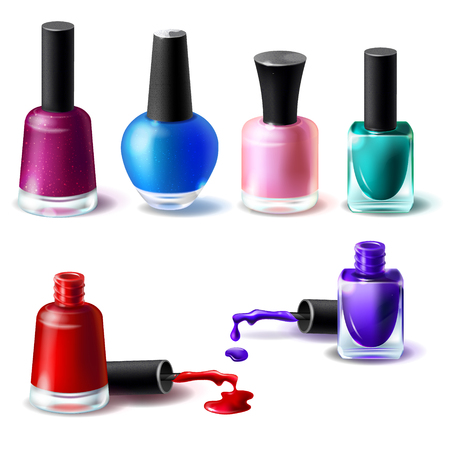 Set of illustrations in realistic style clean bottles with nail polish of different colors. Glass bottles with closed lids and open and blots of nail polish
