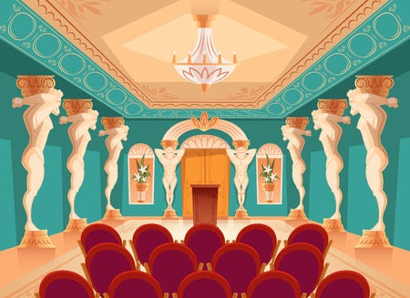 Vector dancing hall with atlas pillars and armchairs for audience, spectators. Interior of ballroom with titan, atlant columns for presentation or royal reception in luxury medieval palace.