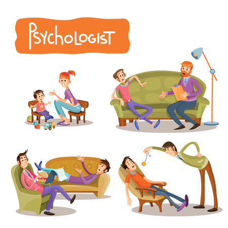 cartoon illustrations the patient is talking with psychotherapist, consultation of psychologist. Depression businessman, teenage problems, alcohol and drug addiction, ADHD and autism