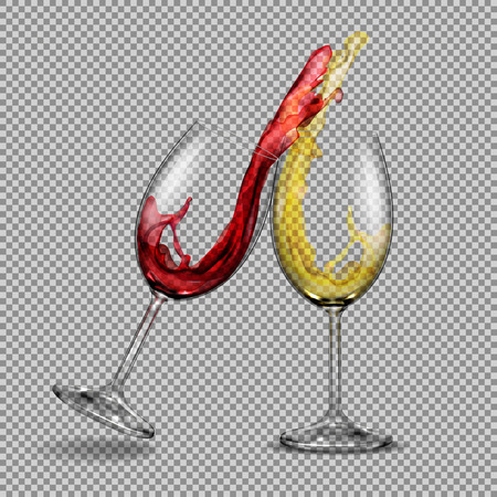 Set transparent glasses with white and red wine with a splash out of them, festive toast. Print, template, design element Stockfoto