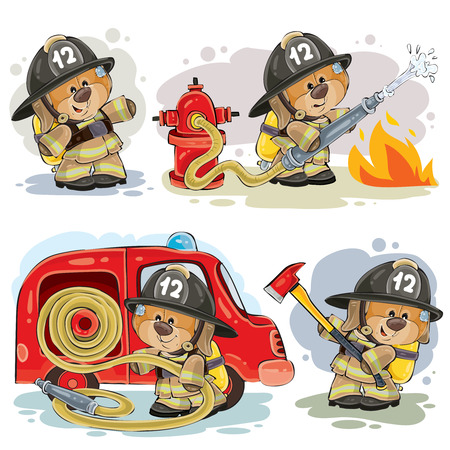 Set of clipart illustrations of teddy bear firefighter with rescue equipment isolated on white. Prints, design elements