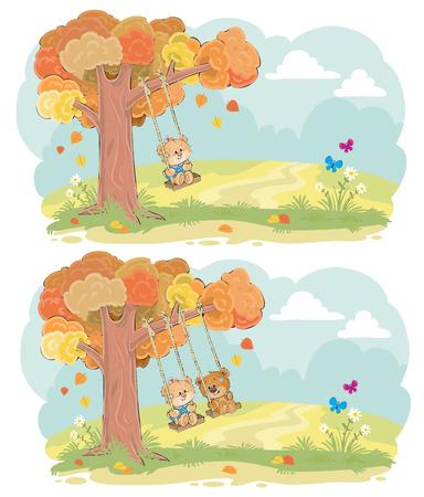 Cute teddy bears children swinging on tree swing on meadow cartoon set. Autumn romance, boy and girl friendship, tender romantic feeling concept for greeting card design, kids book illustration