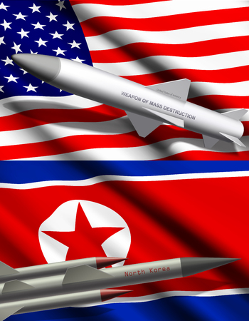 Missile with nuclear weapon or mass destruction on background of United States of America and North Korea flags realistic illustration. International political conflict, threat of war concept