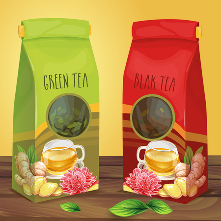 Green and black tea air-tight paper packages with transparent round window decorated with cup of tea, sliced ginger root, leaves and flower standing on wooden surface hand drawn illustration 스톡 콘텐츠