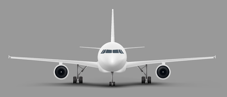 White passenger airplane or personal business jet standing on the ground front view realistic illustration. Civil aviation landed aircraft blank template for tourism and travel concept design