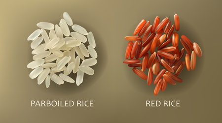 Two handfuls of white parboiled and red cargo rice, isolated on a brown background, realistic . Healthy diet, vegetarian food, design element Stock Photo