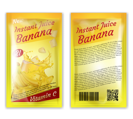 Vector 3d realistic package of instant juice isolated on white background. Yellow banana and slices in splashes of vitamin liquid. Sachet, bag concept for ad poster, banner of product.