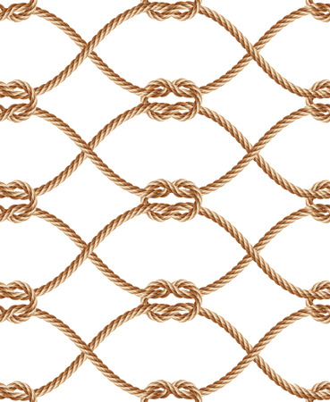 Vector realistic seamless pattern with brown twisted ropes and loops. Decorative ornament with hemp cords, macrame weaving. Abstract print for textile products, wrapper paper Vettoriali