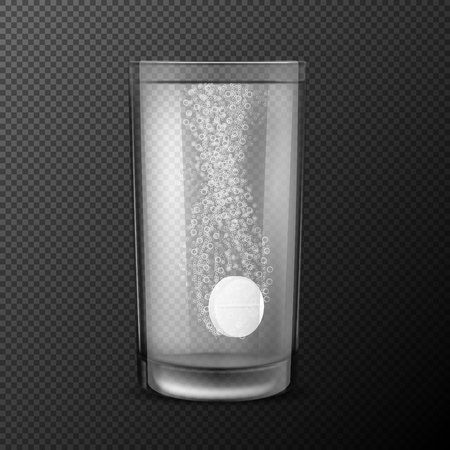 illustration of effervescent tablet, soluble pills falling in a glass with water with fizzy bubbles isolated on a black background. Illustration of an art clip, design element. Imagens