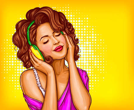 Young pretty woman in vintage headphones listening music with closed eyes pop art illustration on dotted background. Curly girl music lover relaxing when enjoying her favorite song. Copyspace