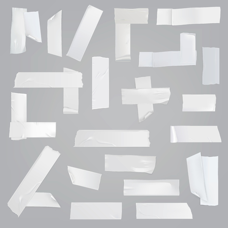 White adhesive tape various pieces with wrinkles, curved and torn edges isolated realistic illustrations set. Different size, glued at angles, cut off strips of sticky tape element collection