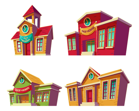 Set of illustrations cartoon of various color old, retro educational institutions, schools isolated on white background. Template, design element, print.