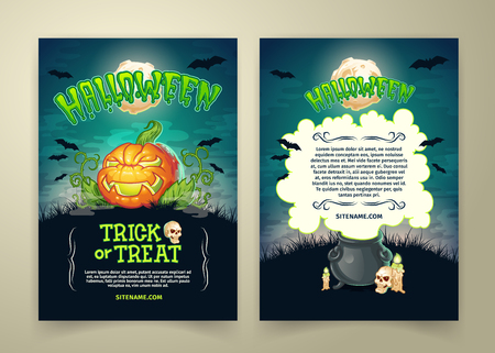 Halloween trick or treat party vector posters template or invitation card. Cartoon scary pumpkin, skull and witch pot, black bats and full moon over haunted cemetery for Halloween holiday party design Vettoriali