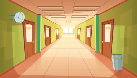 Corridoio della scuola del fumetto di vettore con finestra e molte porte. Corridoio del college con bidone della spazzatura e niente persone. Interno dell'università, concetto di istruzione.